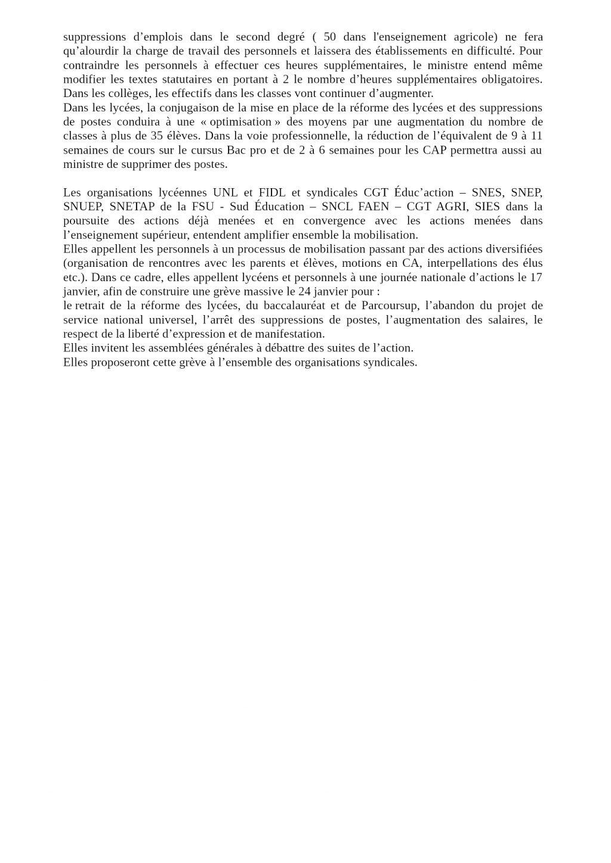 Intersyndicale nationale Éducation 11 pour Grève du 24 janvier V