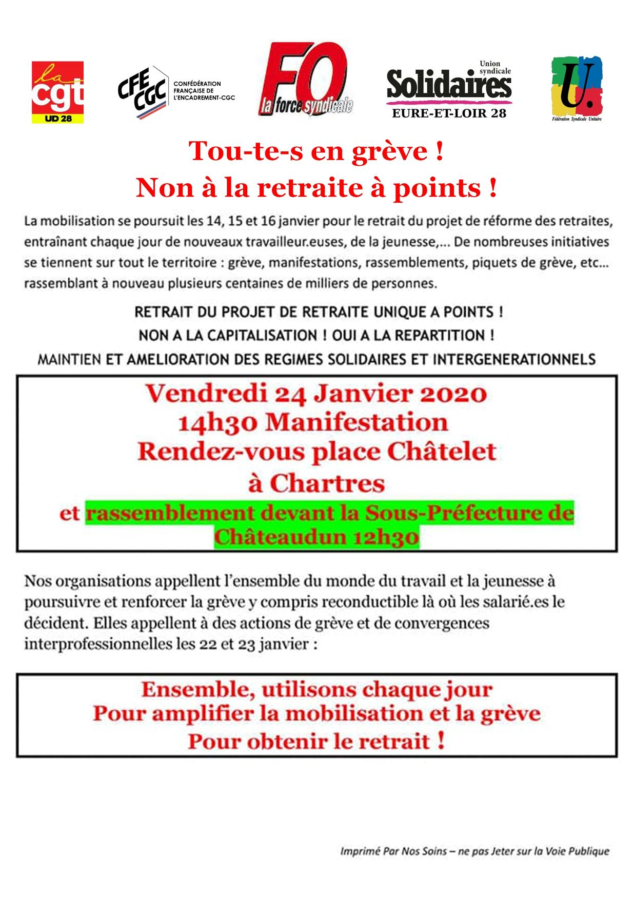 Tract Châteaudun Intersyndicale 28 pour 24-01-2020