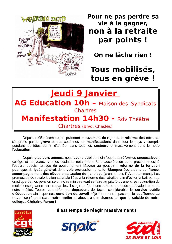 Tract E&L CGT-Écuc-action SUD SNALC Retraites pour le 09-01-2020