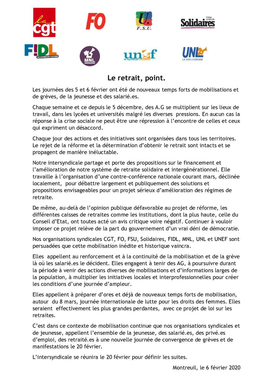 Appel Intersyndicale nationale pour le 20 février 2020