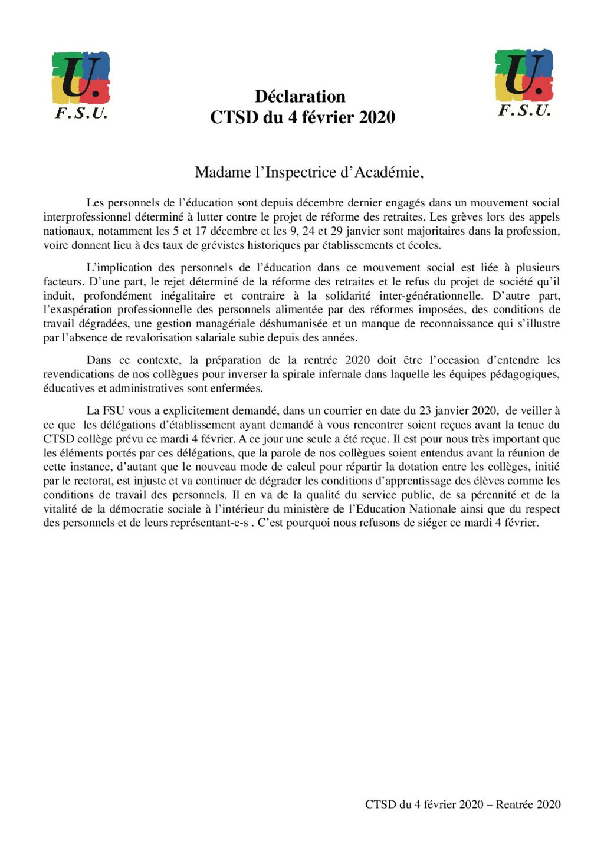CTSD Collèges 2020-02-04 Boycott FSU -declaration