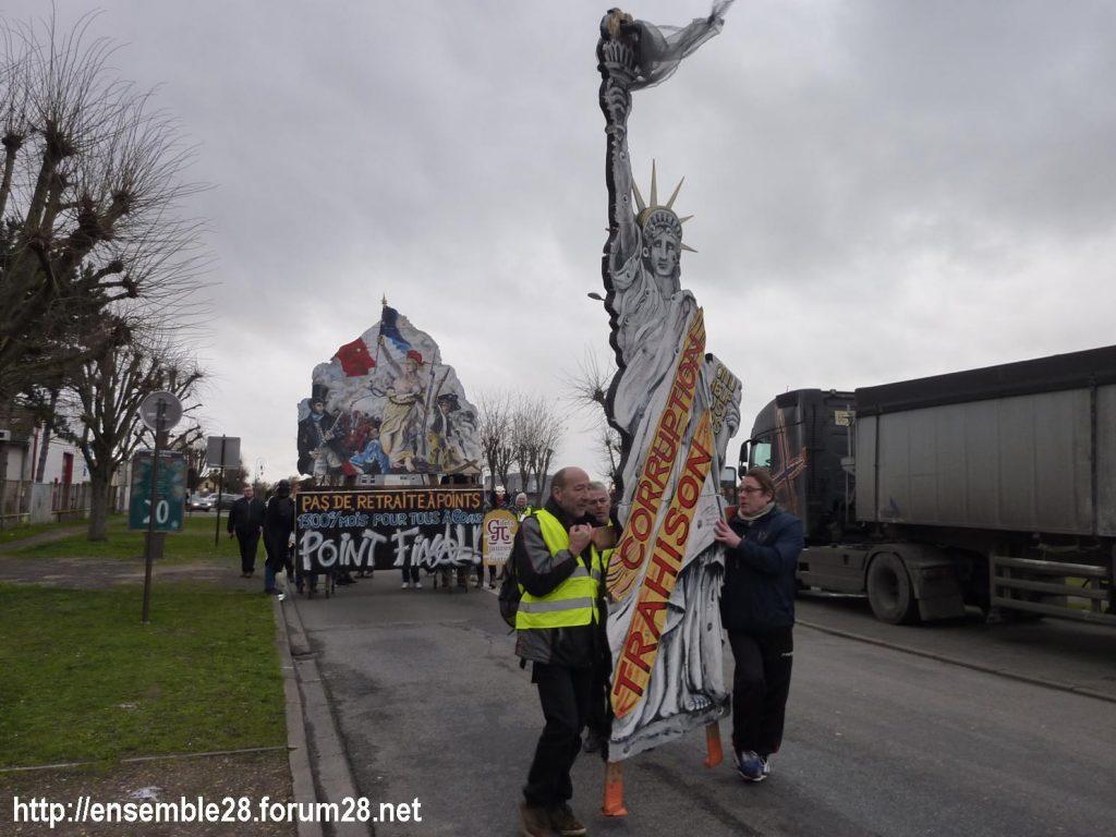 Dreux 01-02-2020 Manifestation Gilets Jaunes et Débat Retraites 02