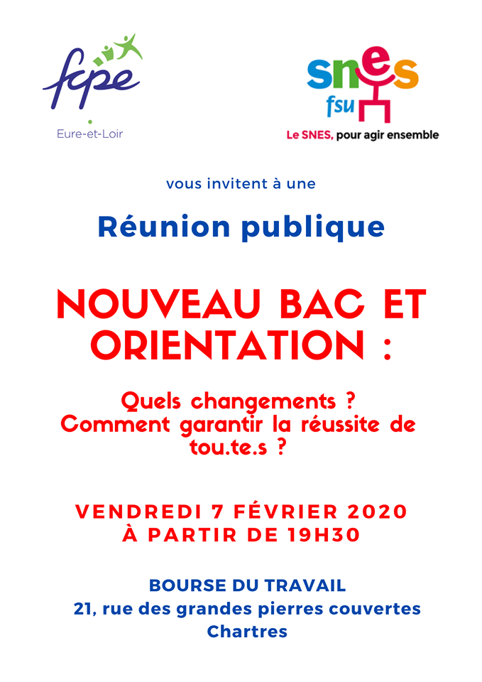 FCPE SNES Réunion Bac E3C Chartres 07-02-2020 [Affiche]