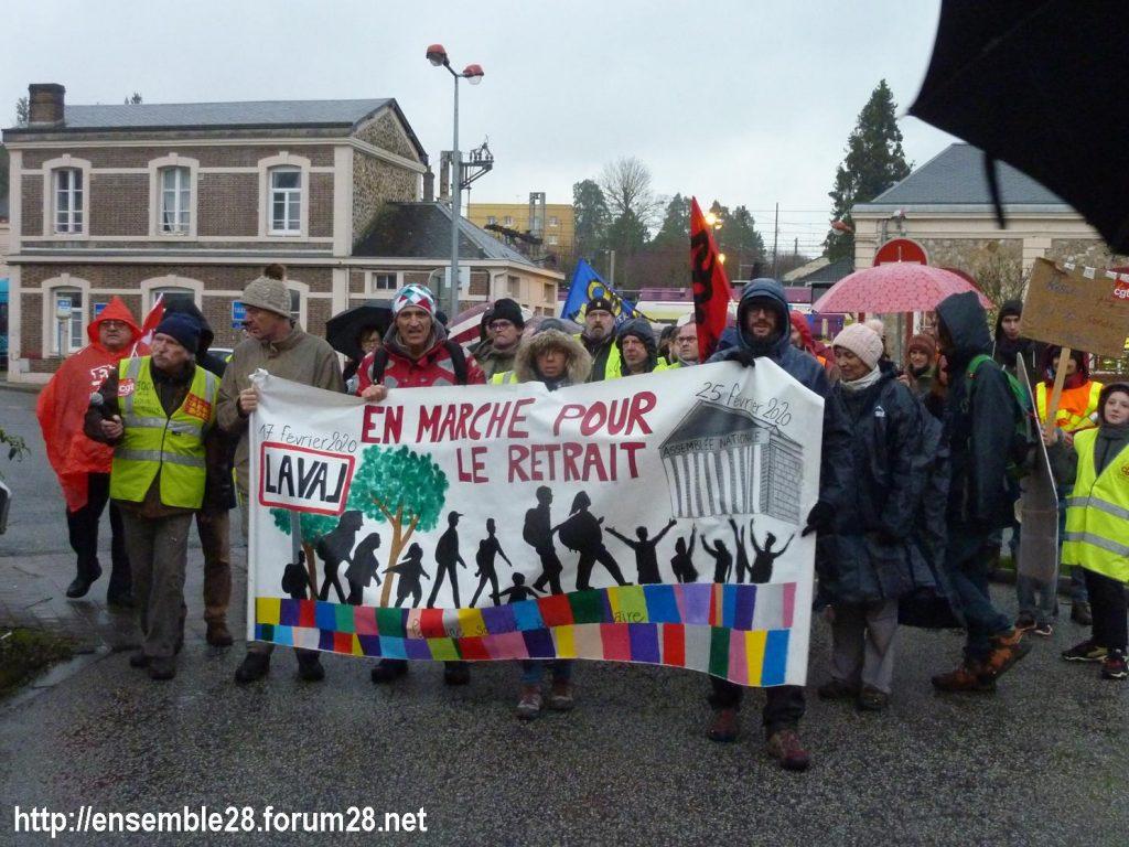 Nogent-le-Rotrou 20-02-2020 Marche Laval-Paris jusqu'au le Retrait 02