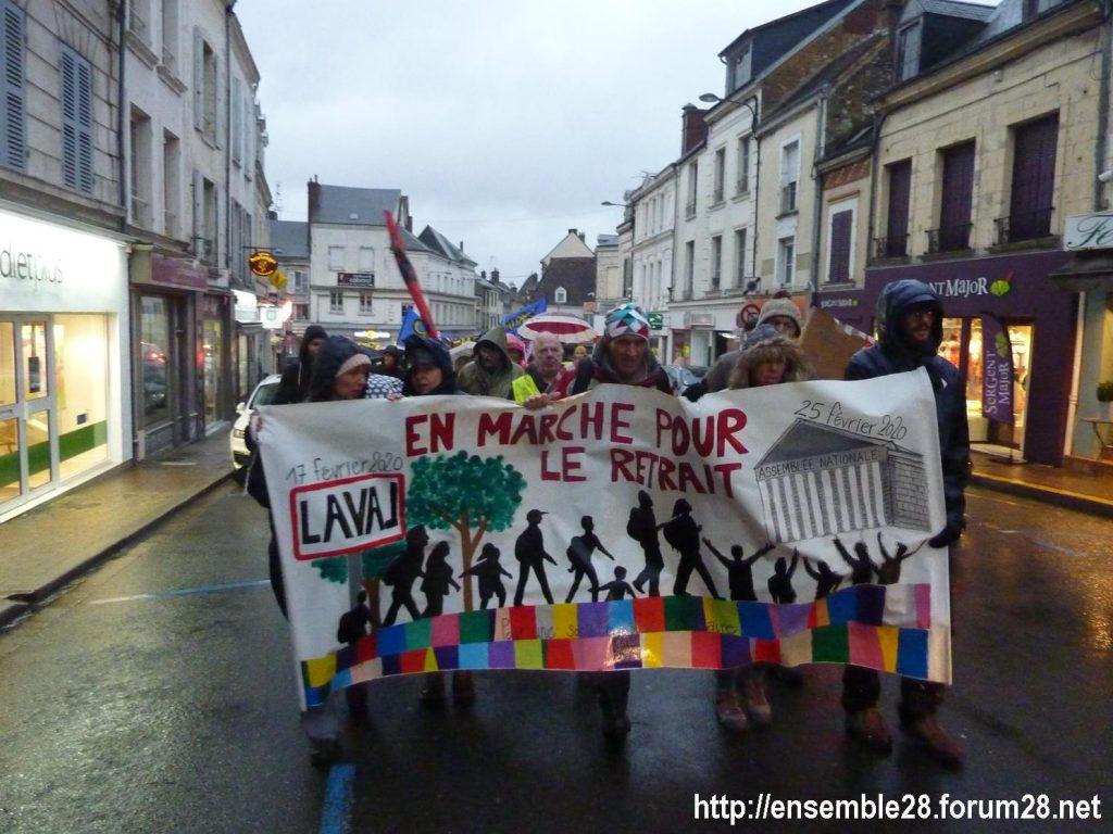 Nogent-le-Rotrou 20-02-2020 Marche Laval-Paris jusqu'au le Retrait 03