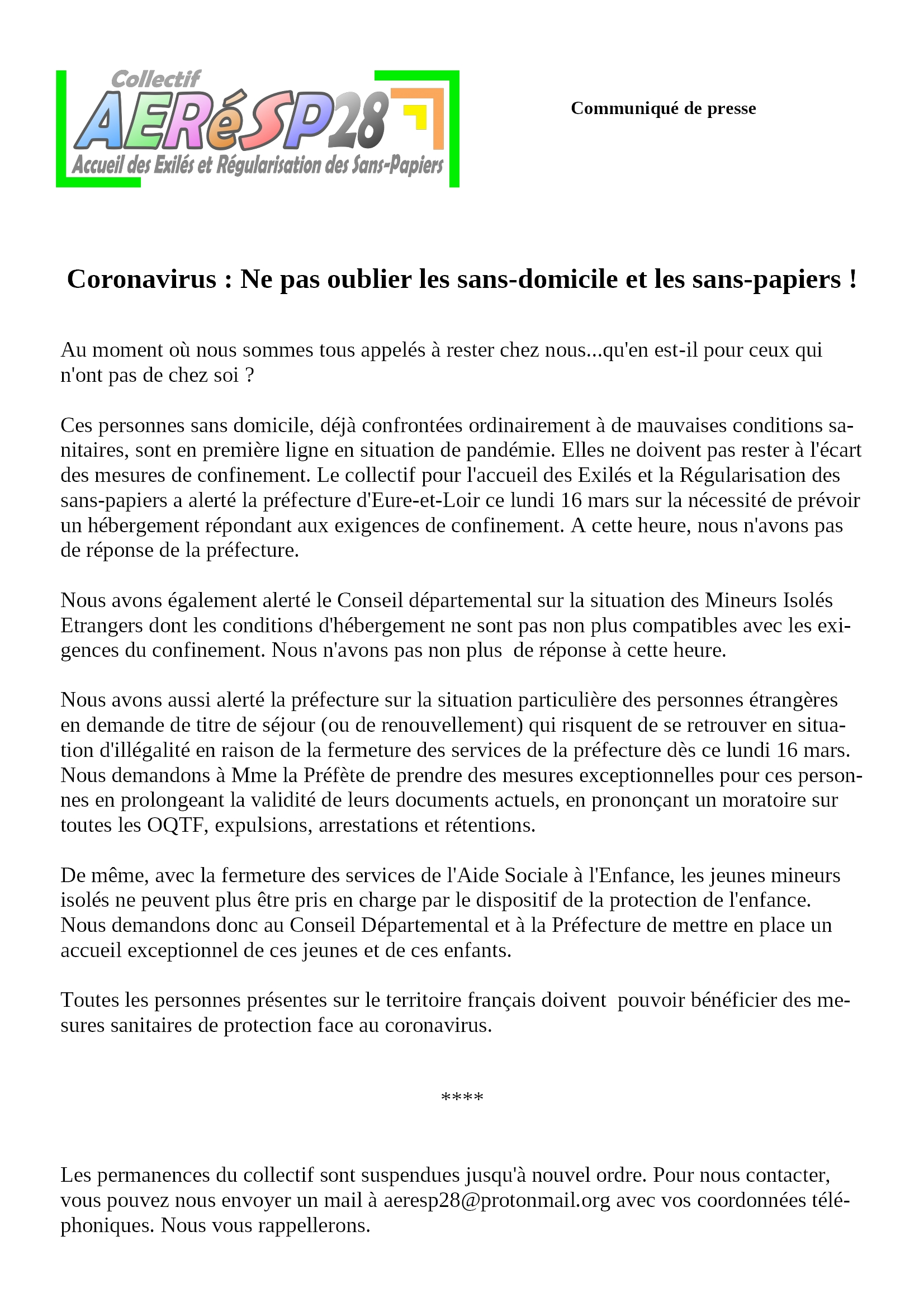 Communiqué AERéSP Covid-19 Sans-domicile Sans-papiers 16-03-2020