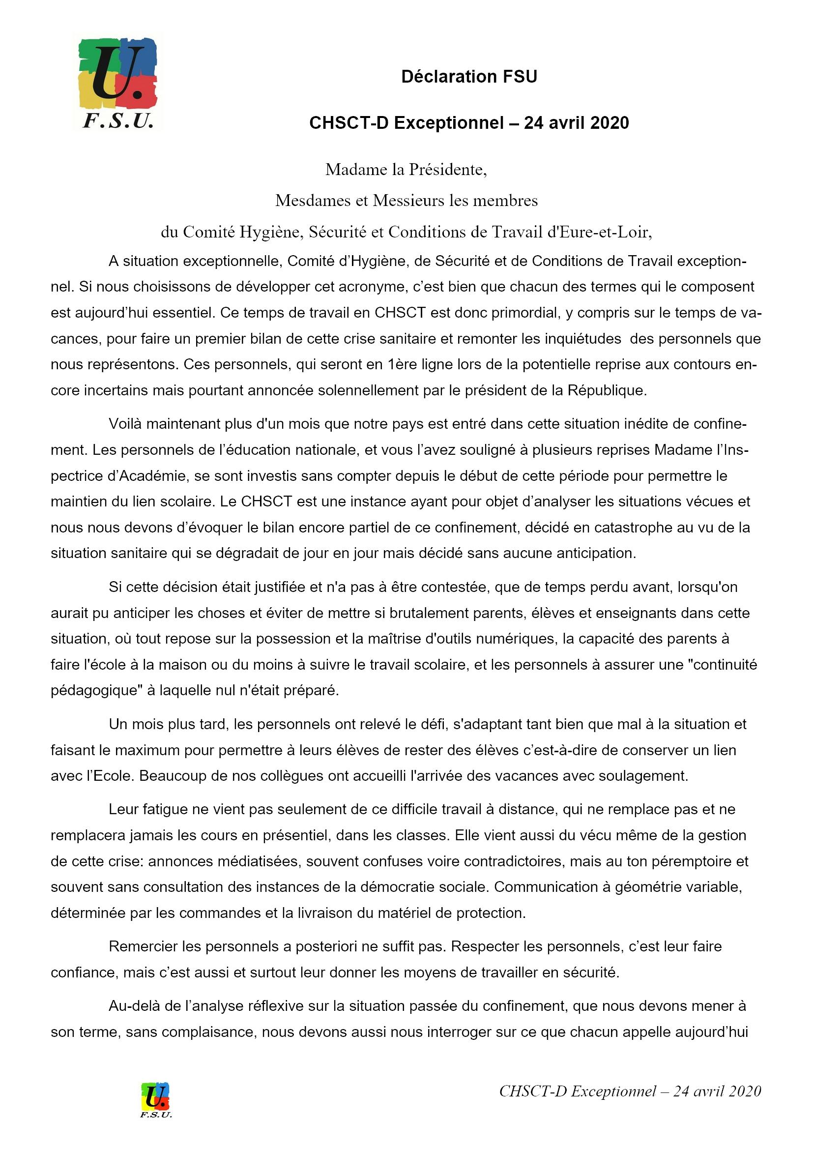 Éducation CHSCT-E&L 24-04-2020 Déclaration FSU 1x3
