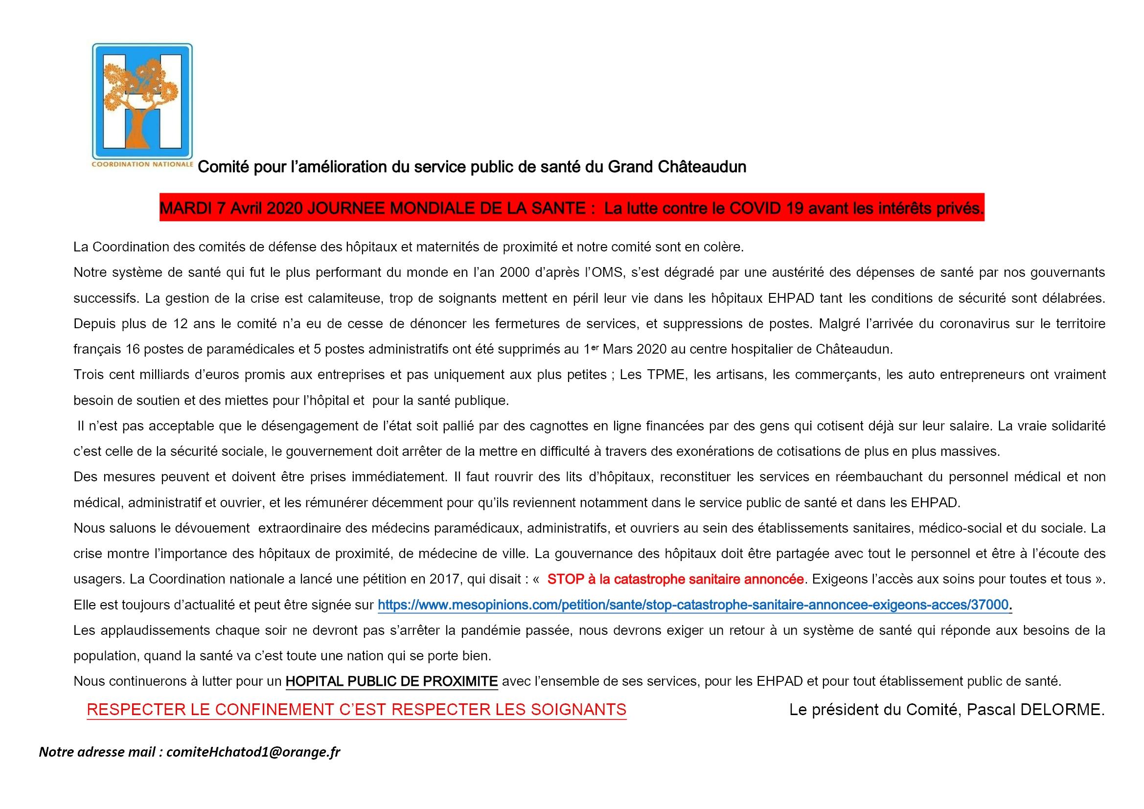 avril journée mondiale de la santé [Communiqué Comité Santé Châteaudun]