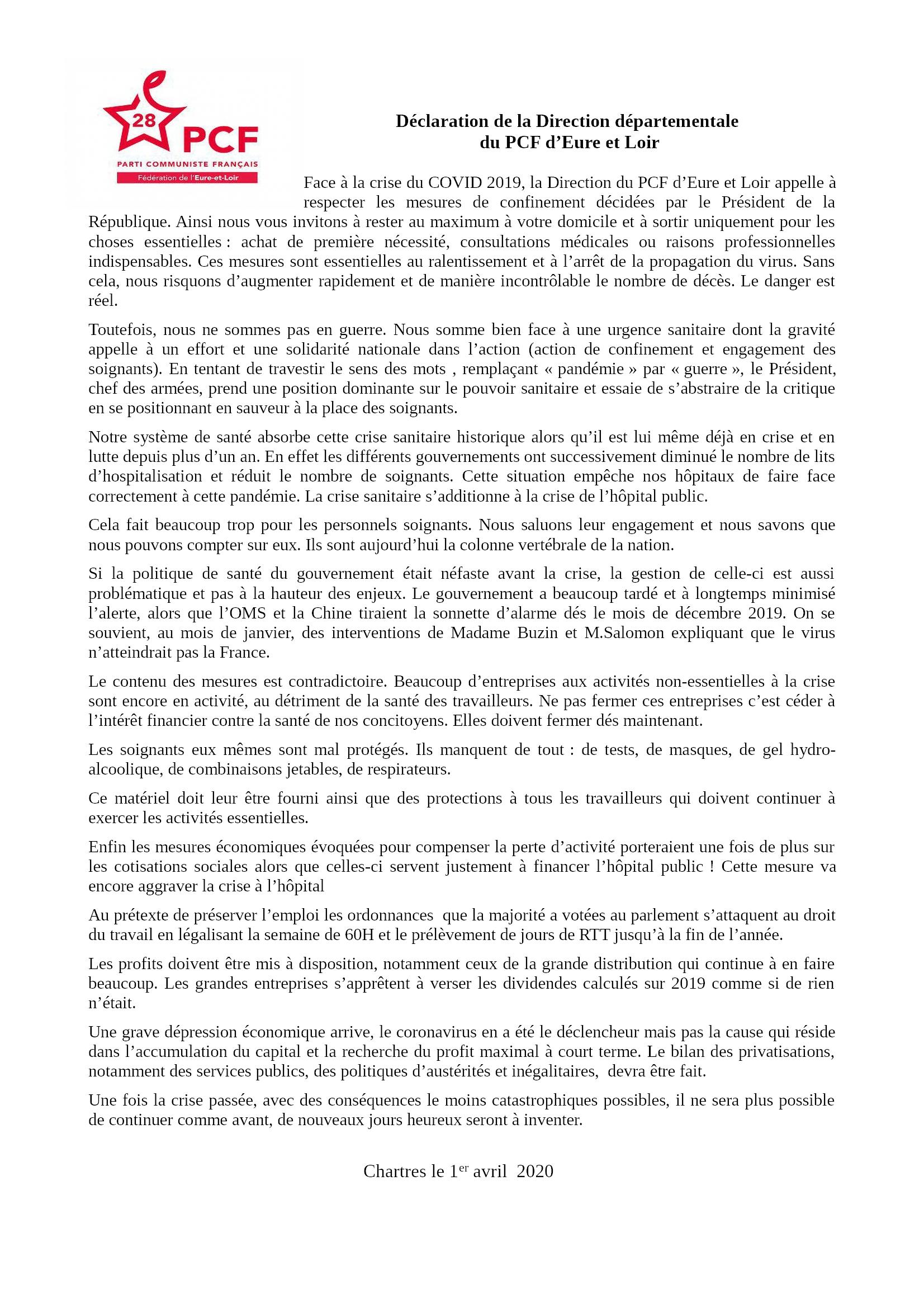 COVID-19 Déclaration PCF 28 du 01-04-2020