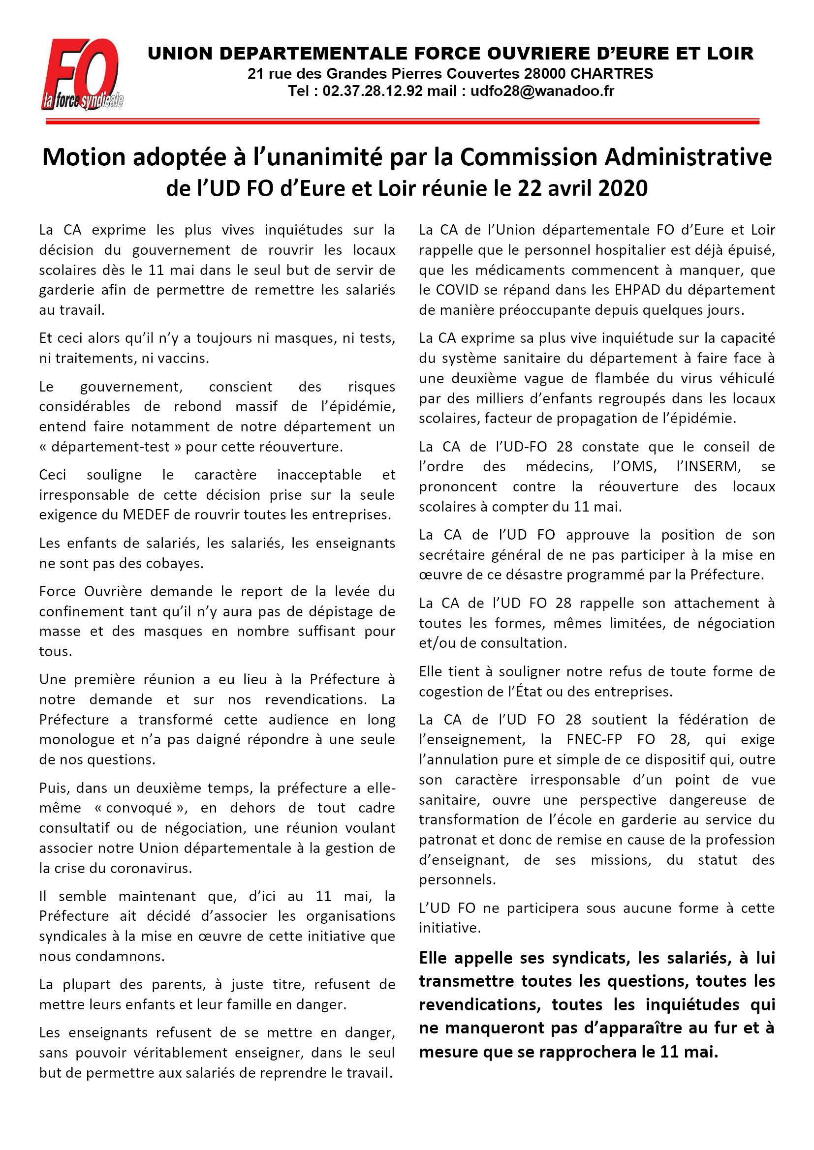 FO E&L Éducation Reprise 11 mai 22-04-2020