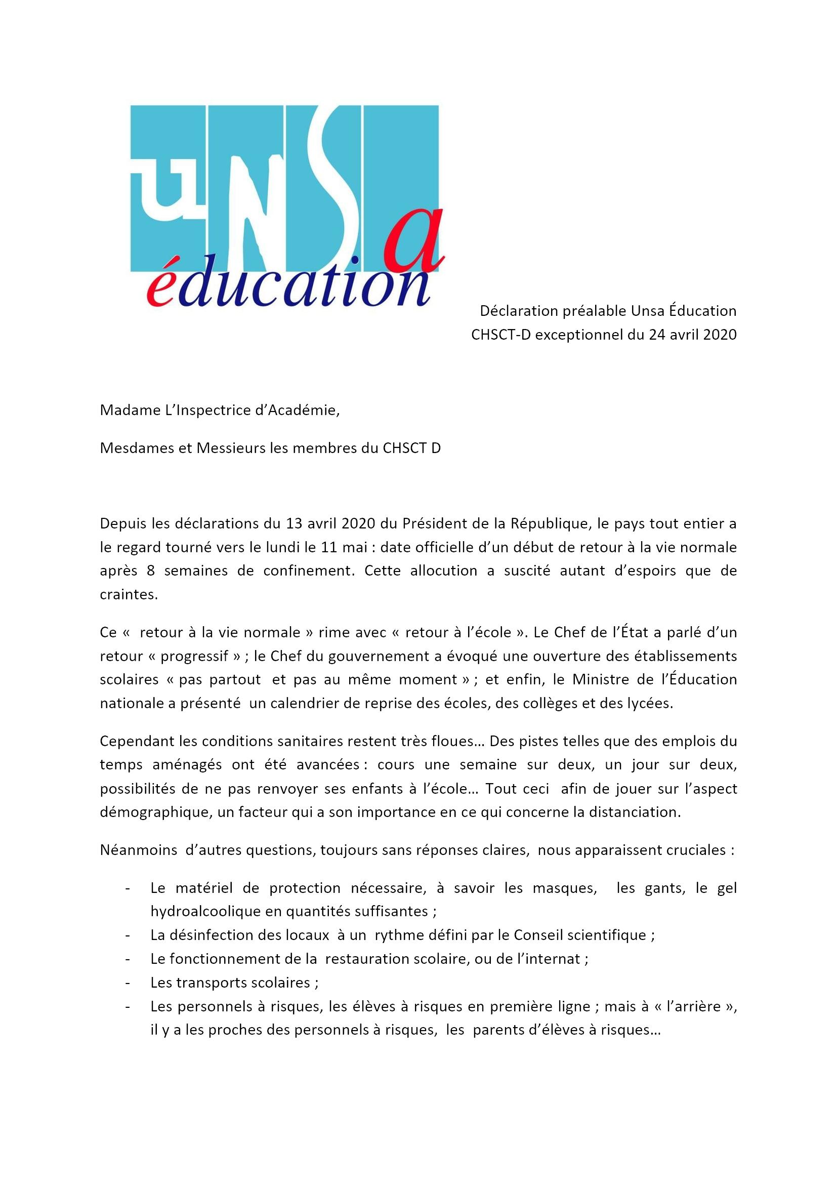 UNSA 28 Déclaration_préalable CHSCT_24_avril_2020 1x2