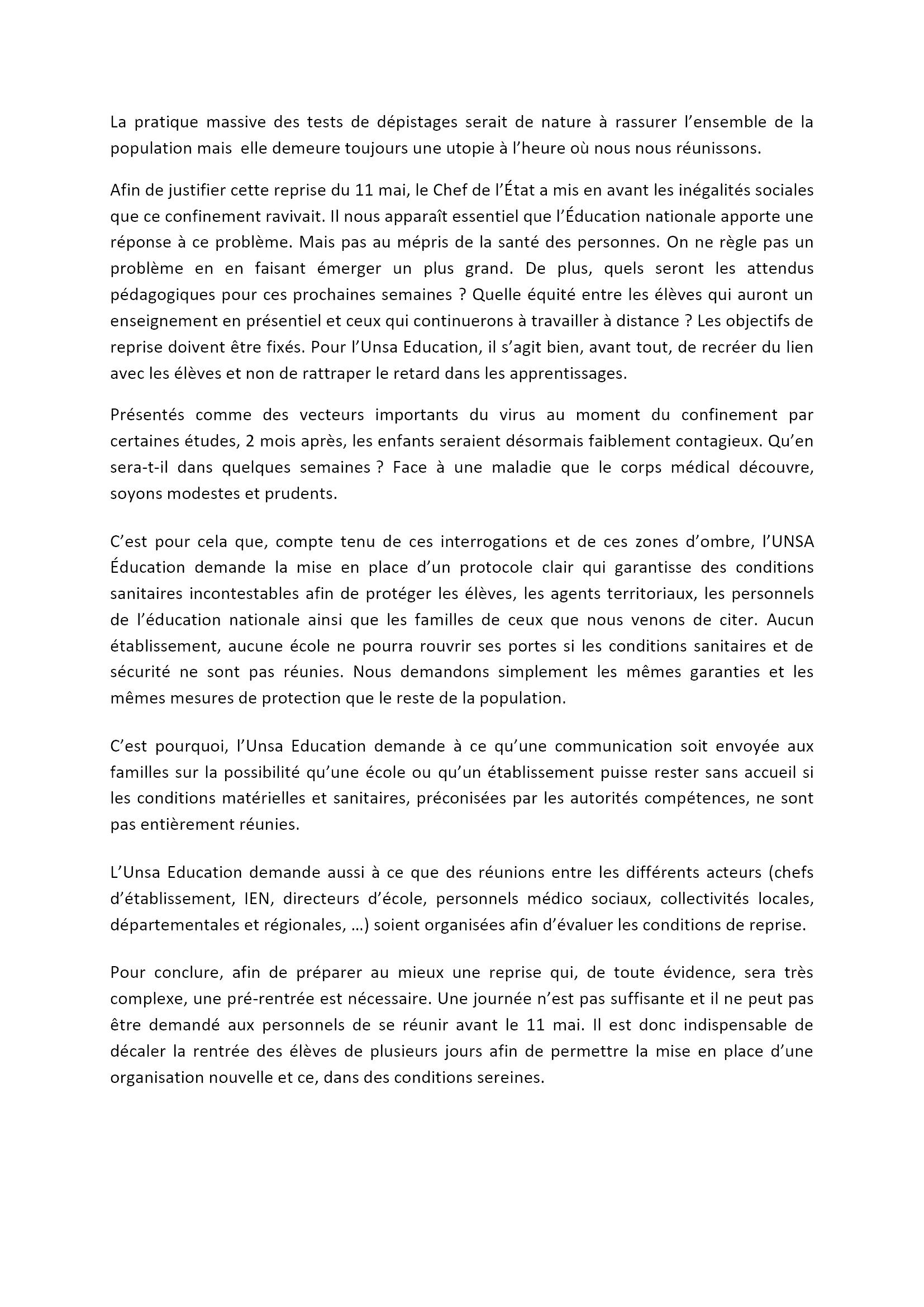 UNSA 28 Déclaration_préalable CHSCT_24_avril_2020 2x2