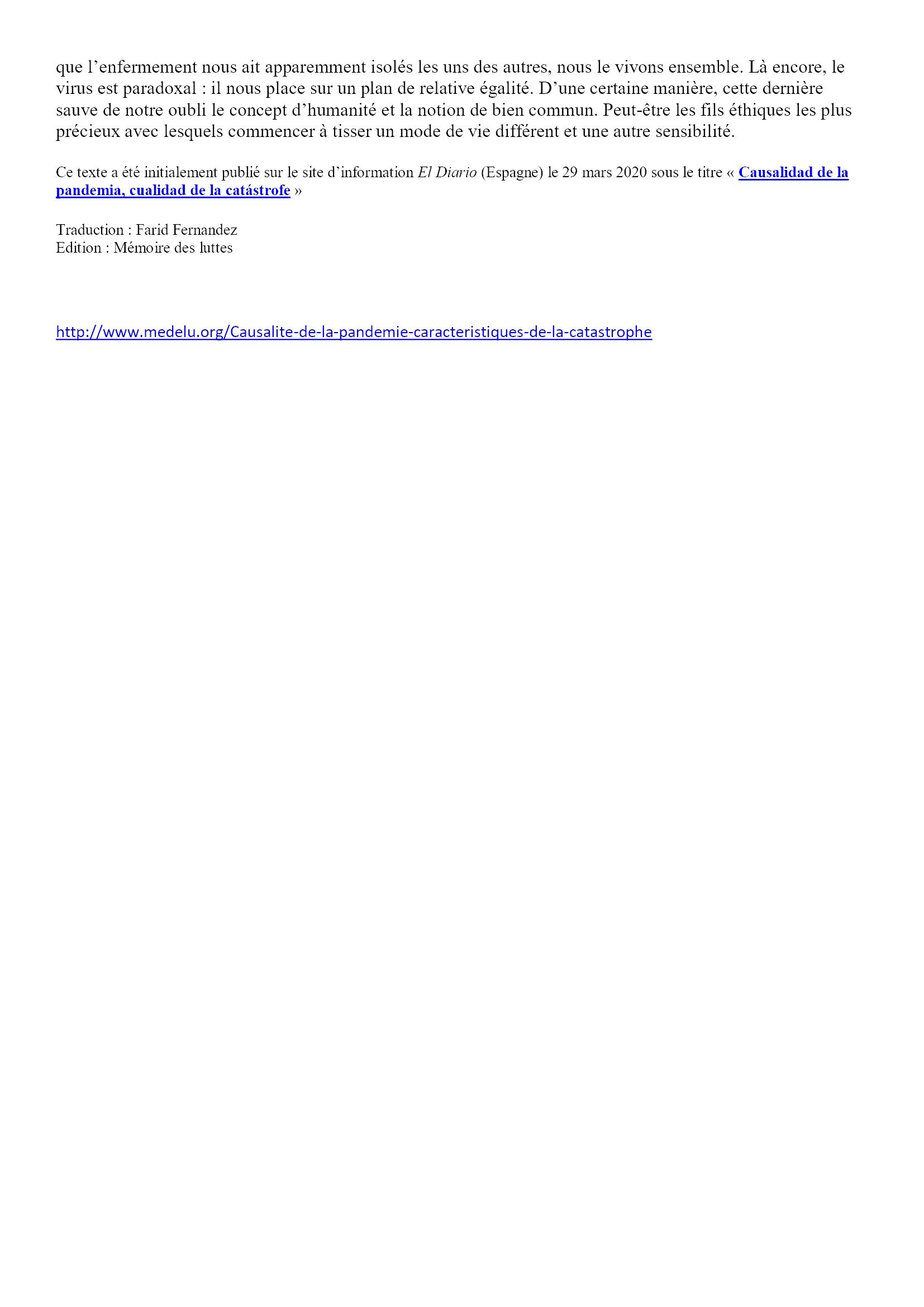 Causalité de la pandémie, caractéristiques de la catastrophe Angel Luis Lara 5x5