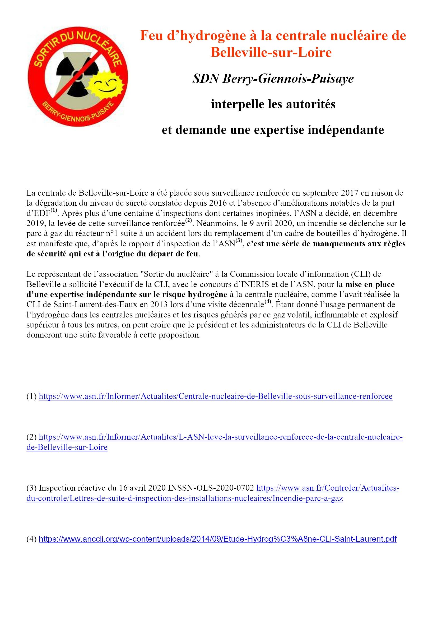 ComPress SDN Berry Giennois Puisaye Feu d'hydrogène à Belleville 10-04-2020