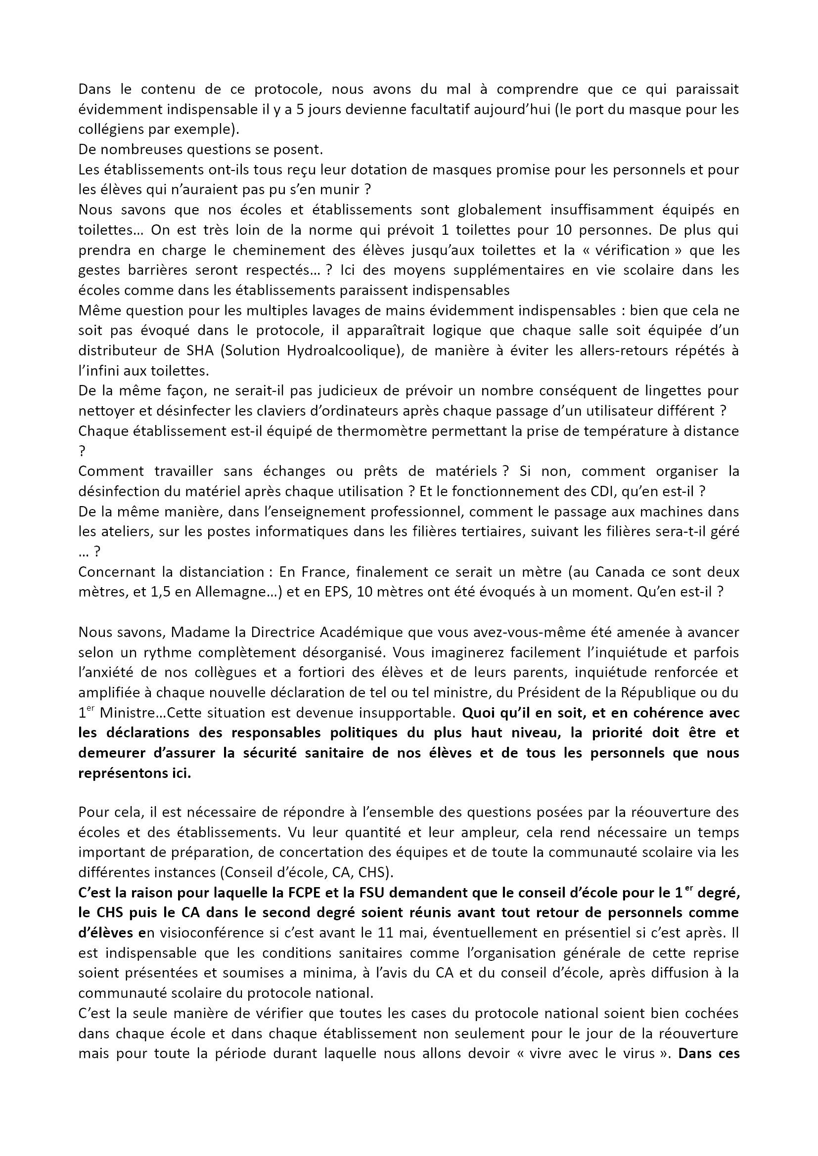 FCPE-FSU 28 Déclaration-CDEN-4-mai2020 Reprise 2x3