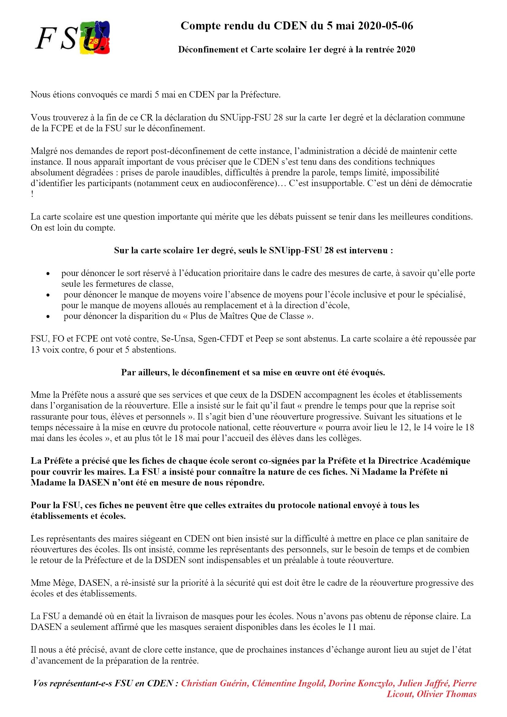 FSU 28 Compte rendu du CDEN du 5 mai 2020