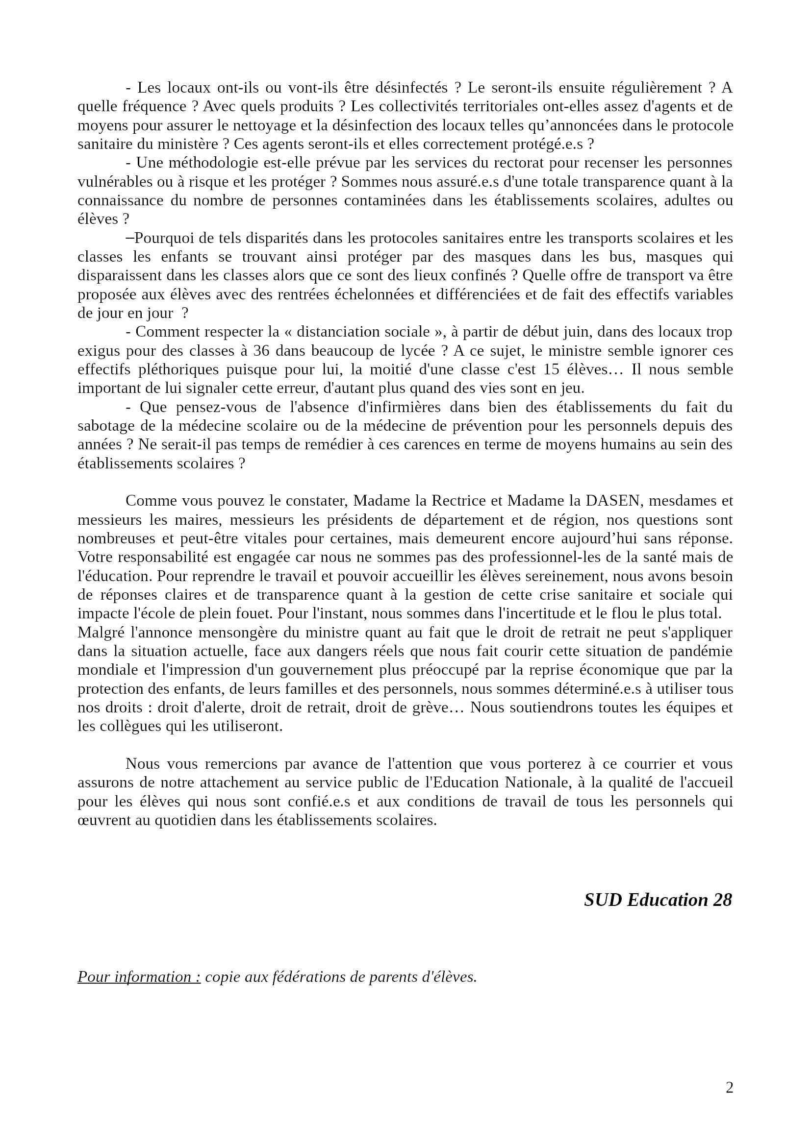 Lettre SUD-Éducation 28 à Rectrice DASEN CD Centre VdL Maires 2x2