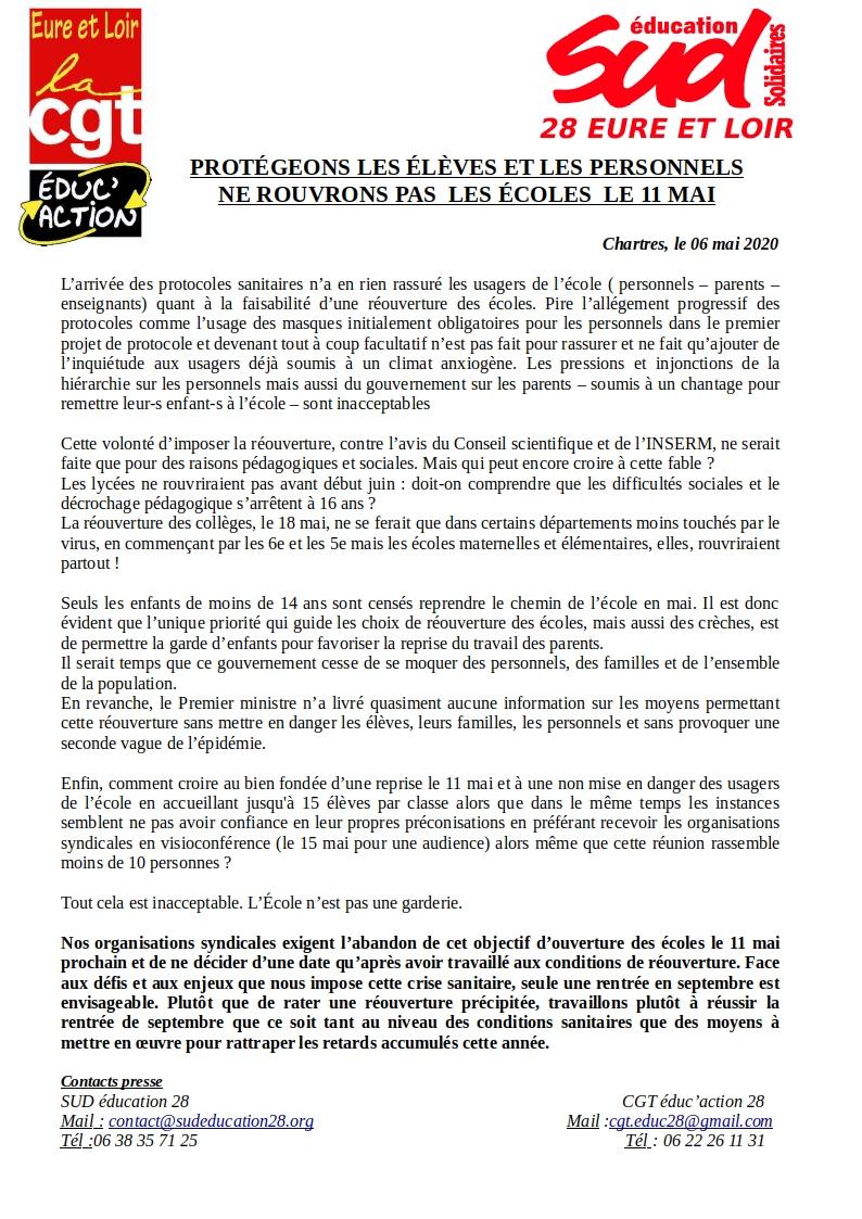 SUD-Éducation-28 CGT-Éducaction-28 Non au 11 mai 06-05-2020