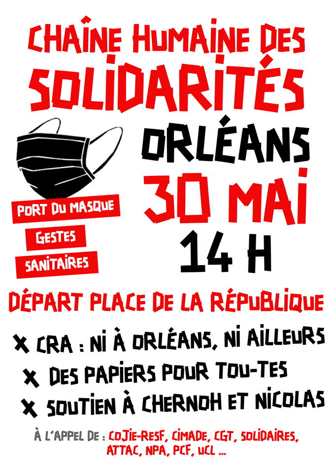 Chaîne humaine Sans-Papiers Orléans 30-05-2020 [Affiche]