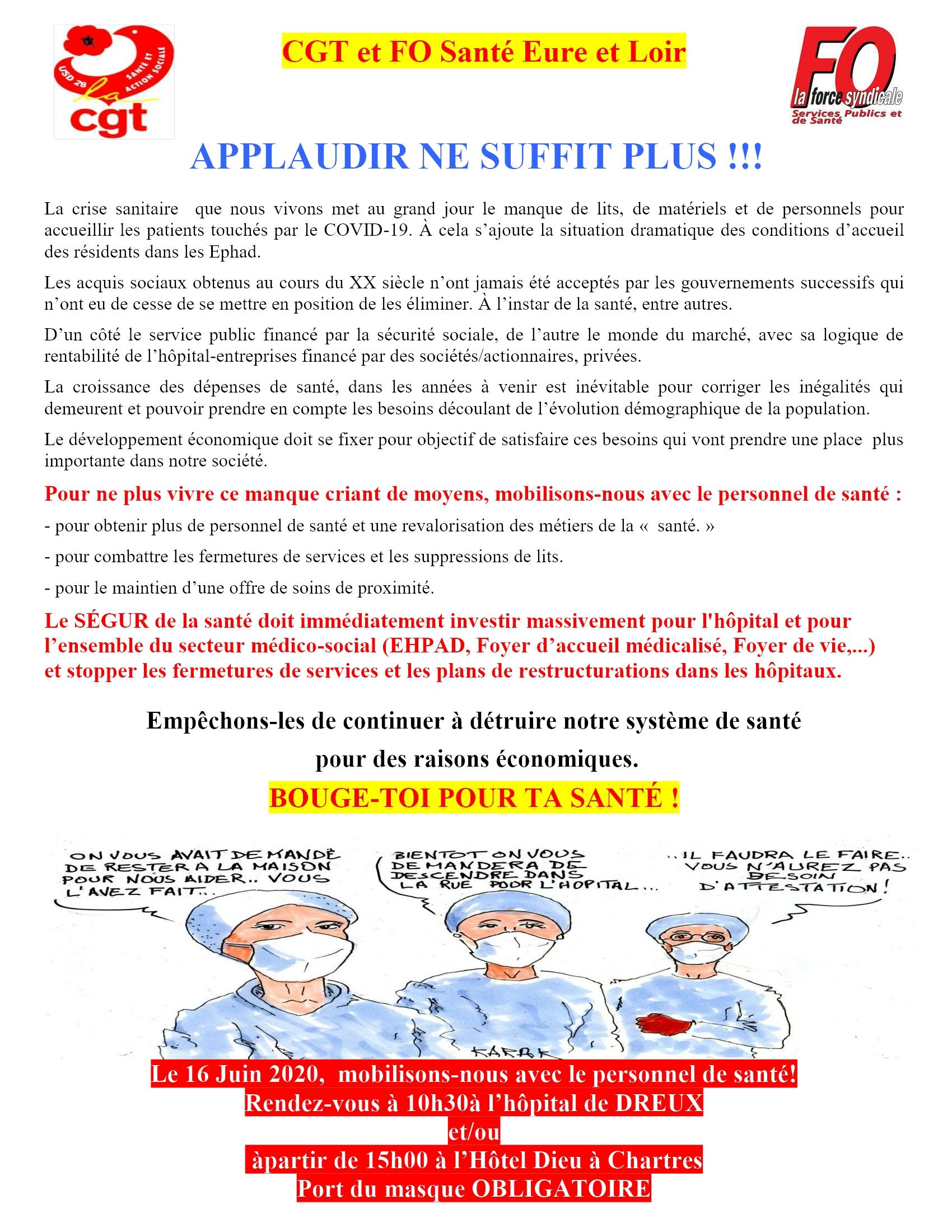 CGT FO Santé Dreux 16 juin 2020 (tract vers usagers]