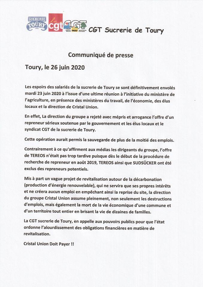 CGT Sucrerie Toury Communiqué du 26-06-2020