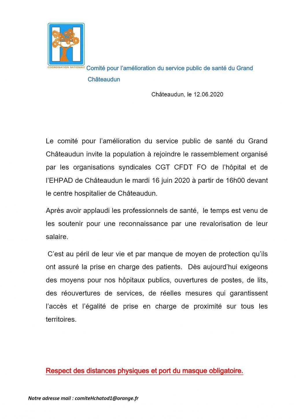 Comité Santé Grand Châteaudun Rassemblement Hôpital Châteaudun le 16 juin 2020