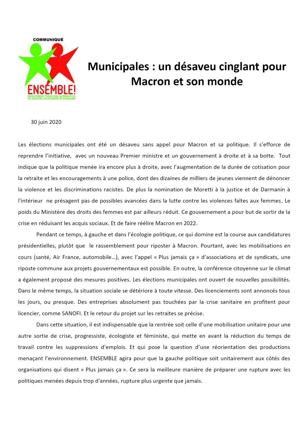 E! Communiqué 7 juillet Macron Castex