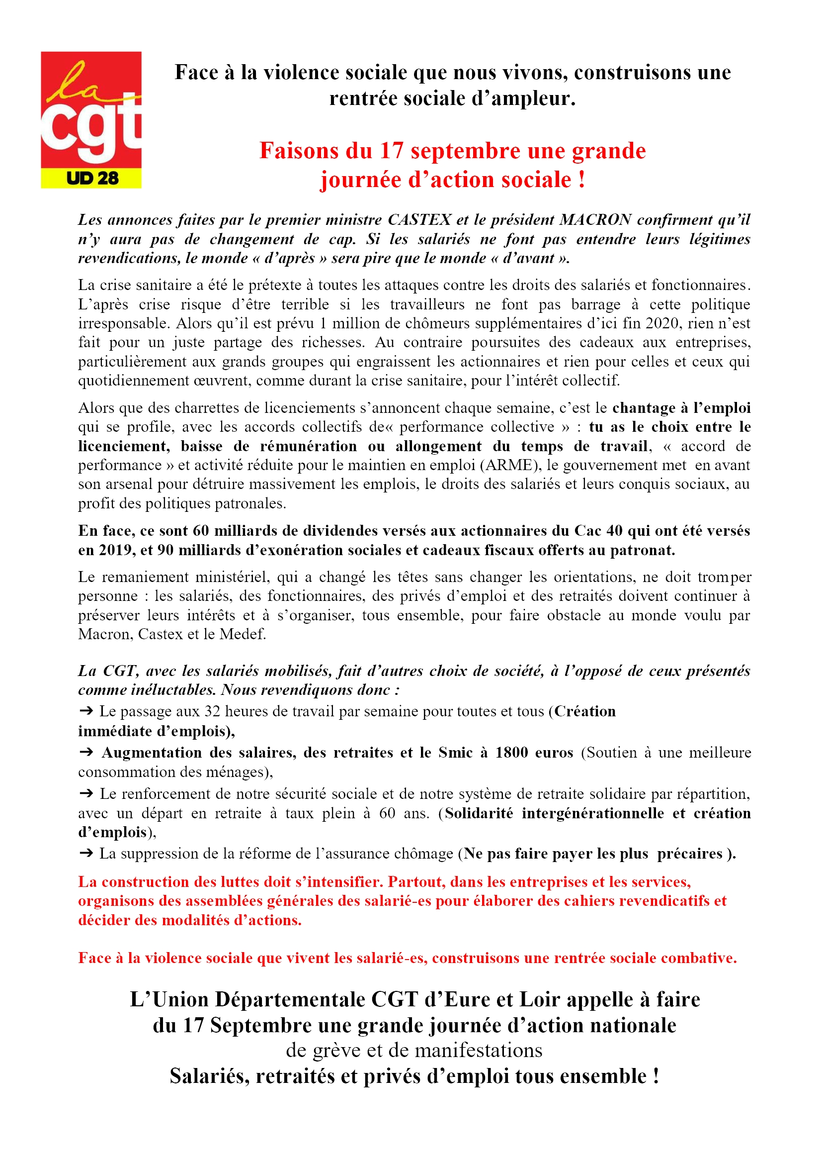 1er Tract 17 Septembre CGT 28 1x2