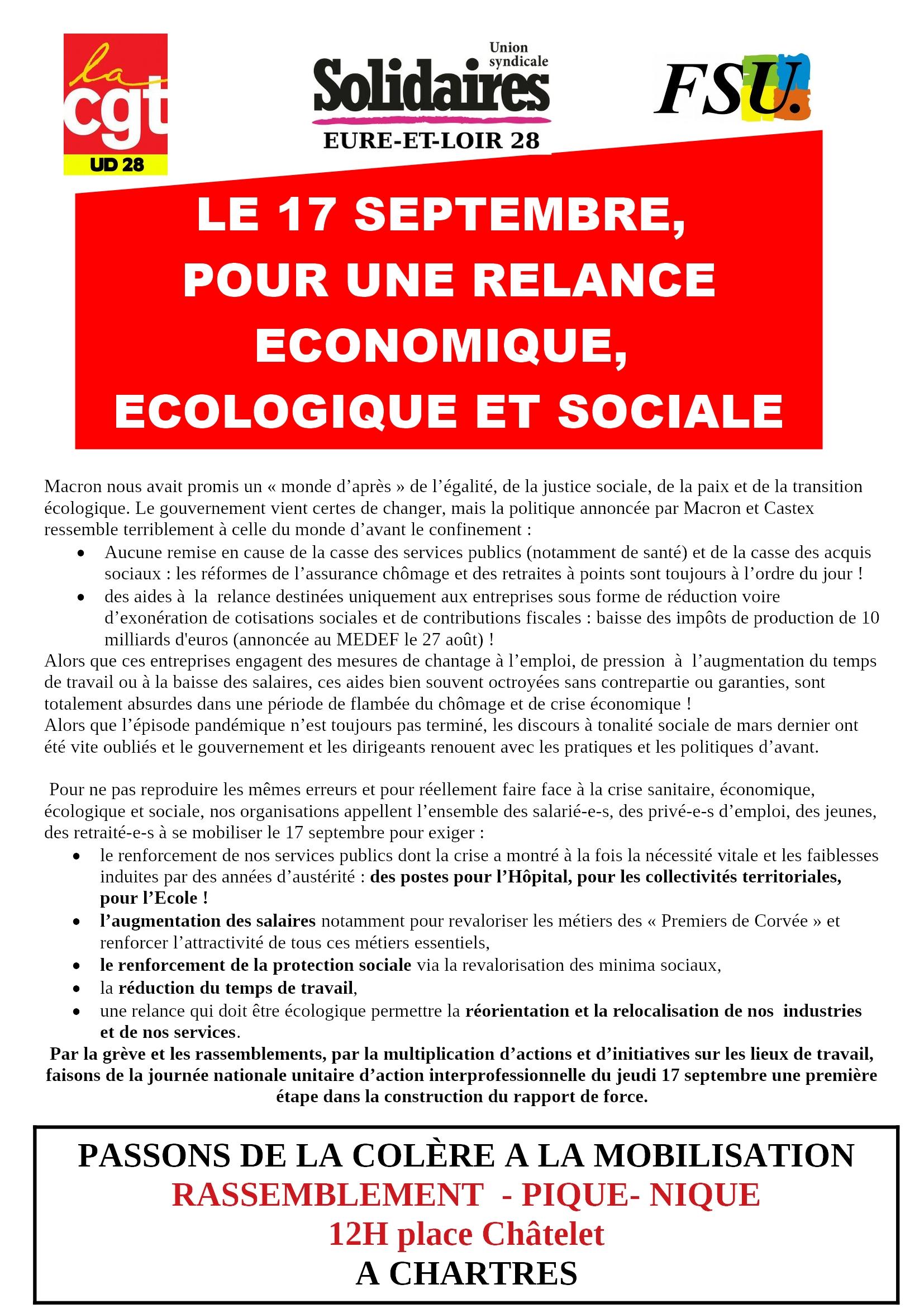 17 septembre 2020 CGT FSU Solidaires 28 Pique-nique