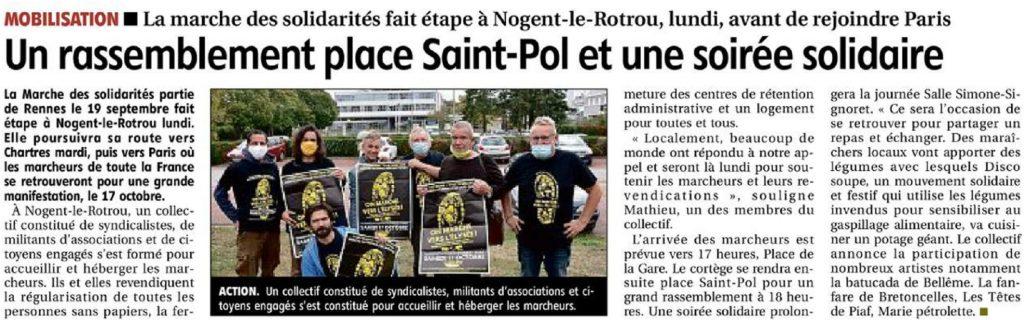 ER 2020-10-11 p16 Nogent-le-Rotrou Marche Sans-Papiers Rassemblement Repas Concert Solidarité