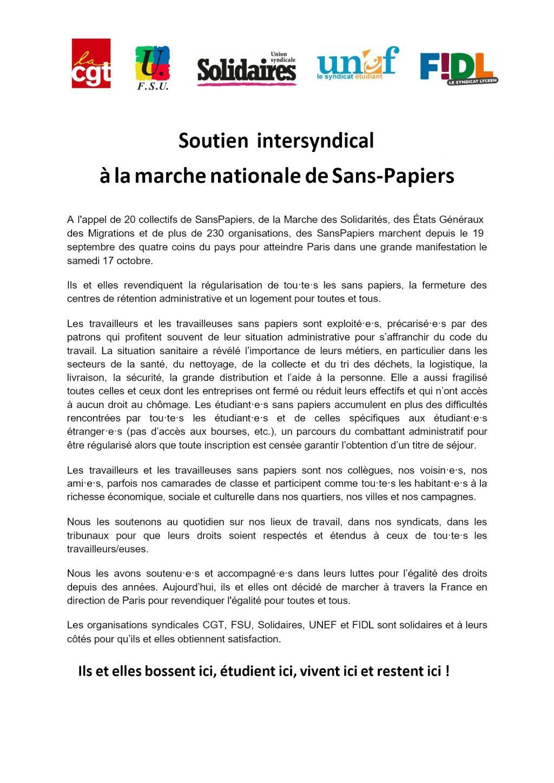 [CP Intersyndical] Soutien Marche nationale Sans Papiers