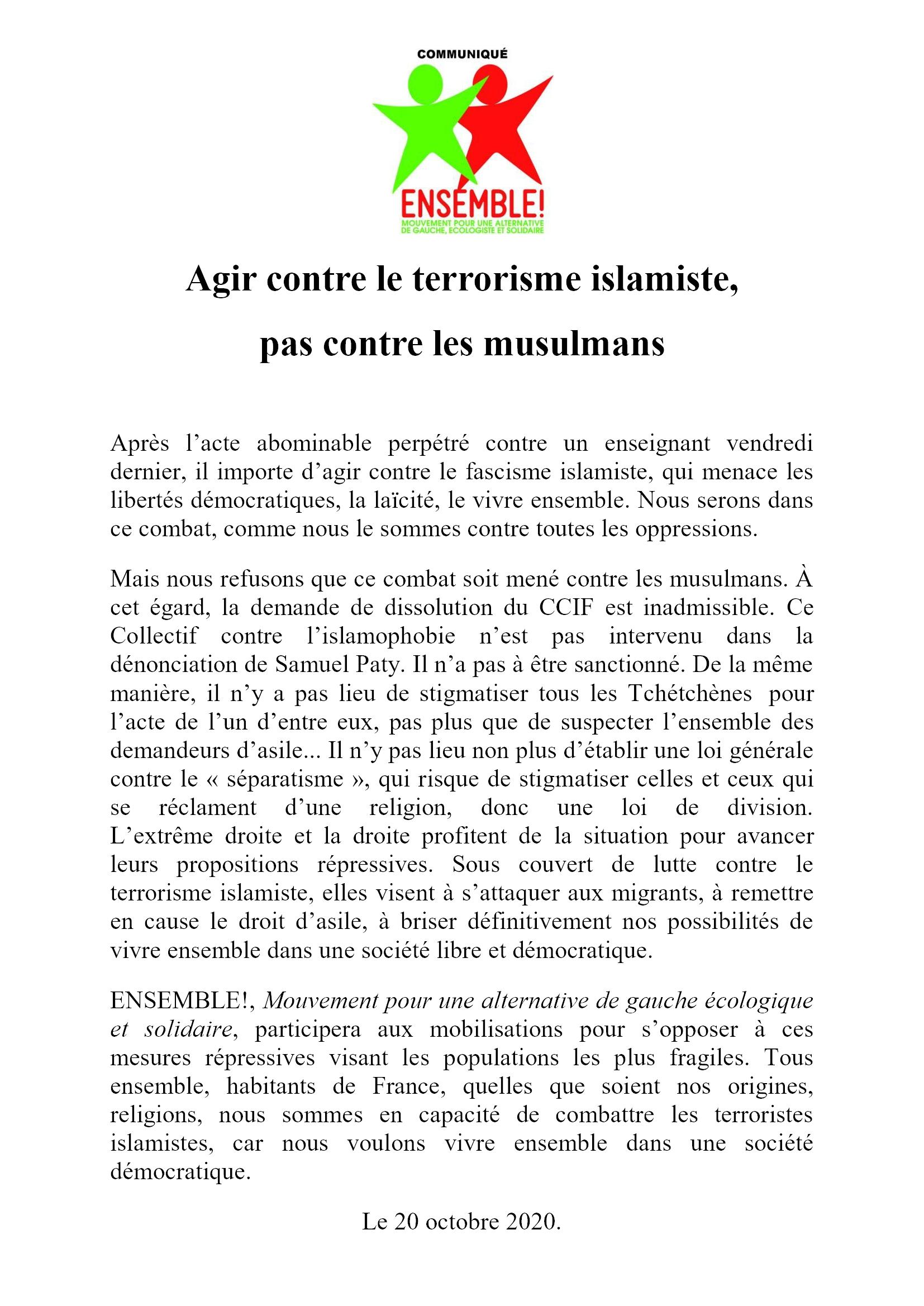 E! ComPress 2020-10-20 Agir contre le terrorisme islamiste, pas contre les musulmans