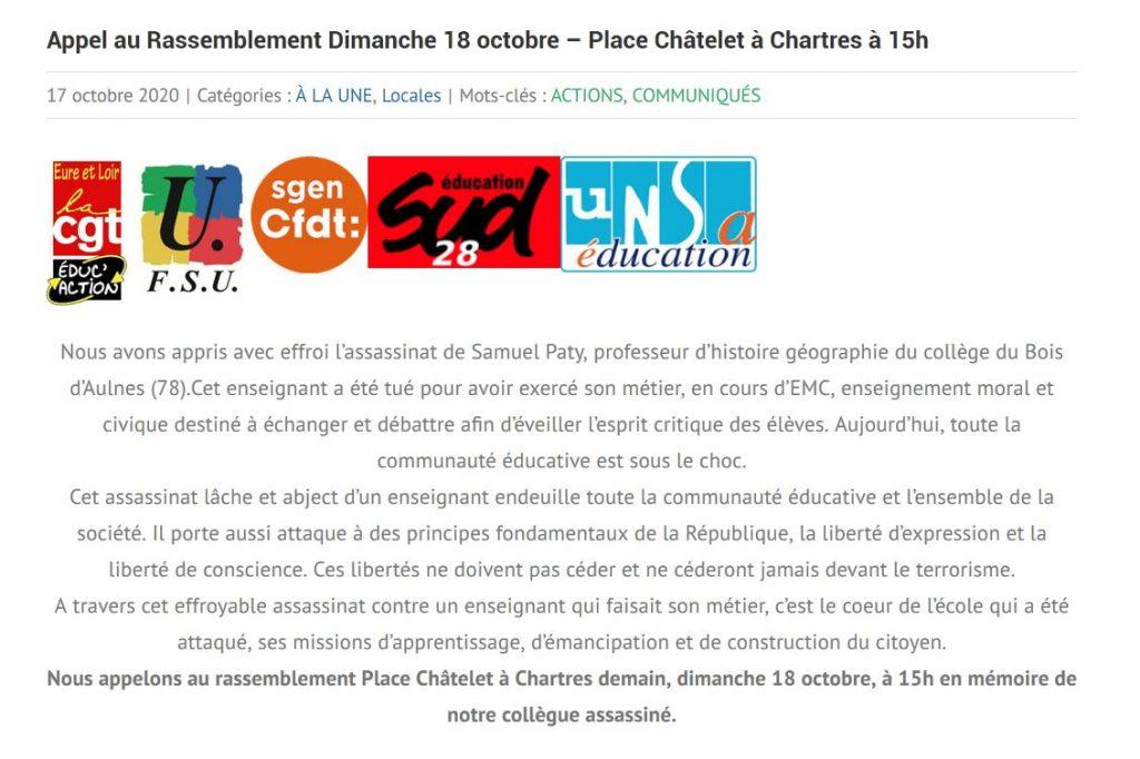 E&L Appel Rassemblement Attentat Conflans Chartres 18-10-2020