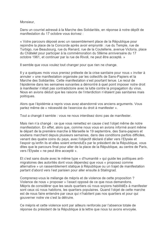 Marche des Sans-Papiers Réponse à la préfecture de Paris sur Parcours manifestation du 17-10-2020 [1x2]