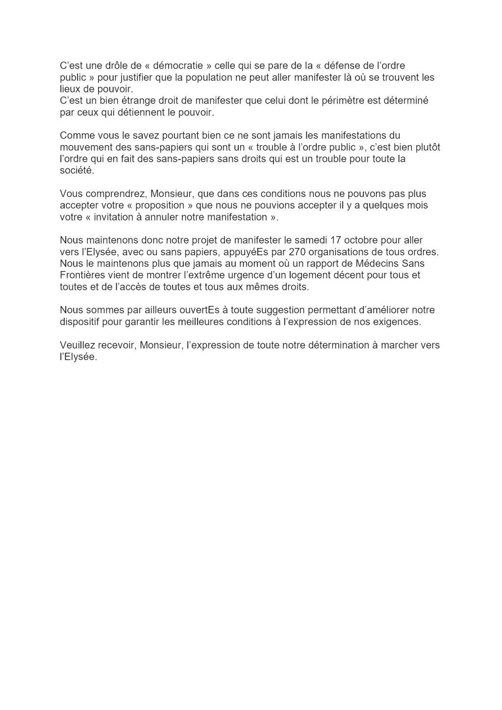 Marche des Sans-Papiers Réponse à la préfecture de Paris sur Parcours manifestation du 17-10-2020 [2x2]