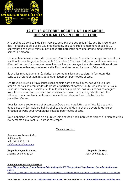 Marche des Sans-Papiers en E&L Communiqué de presse pour 12 et 13 octobre