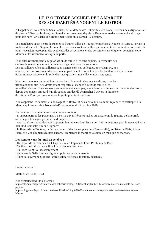 Nogent-le-Rotrou Communiqué de presse 12 octobre