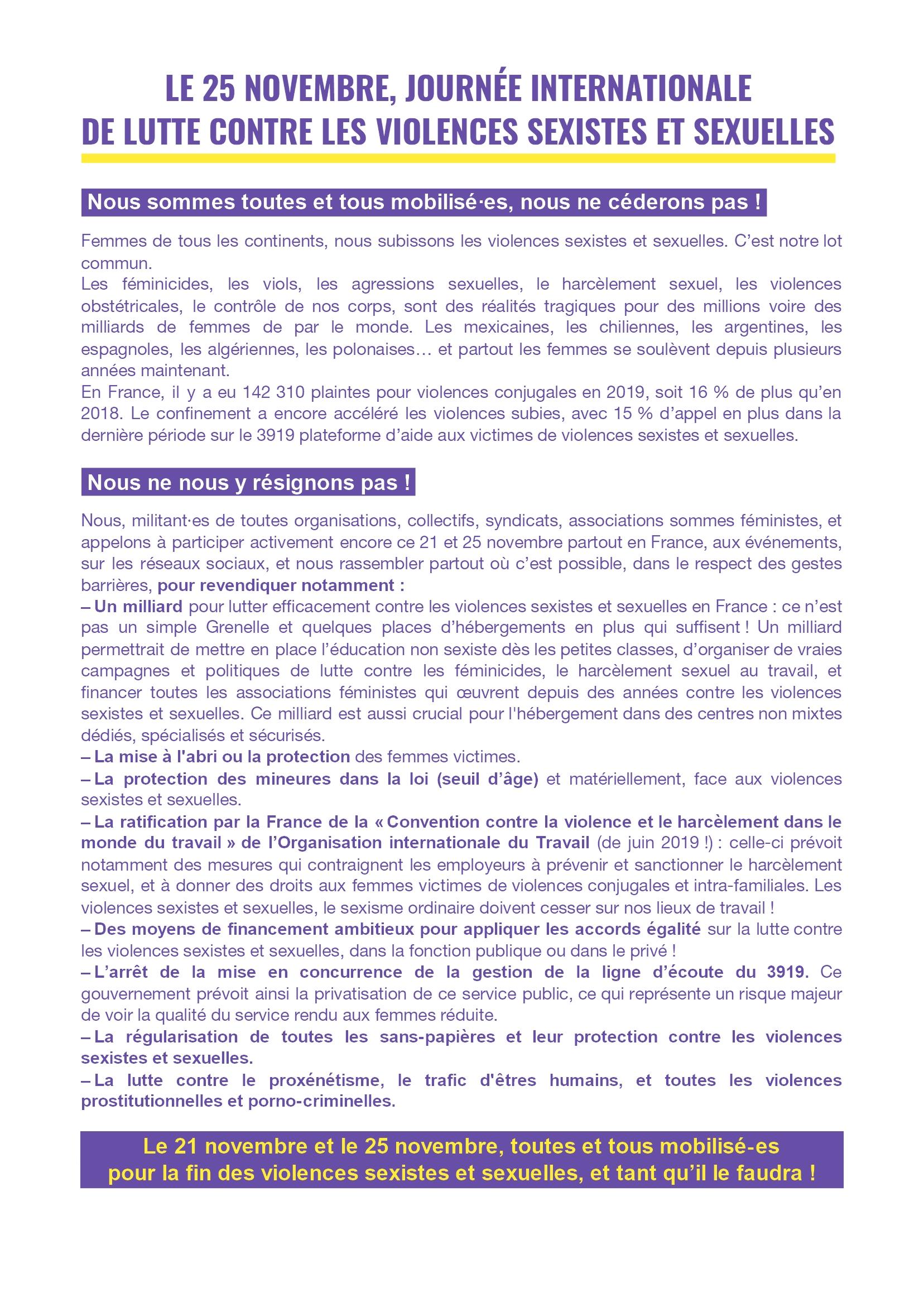 Appel 25 novembre 2020 Violences sexistes et sexuelles R