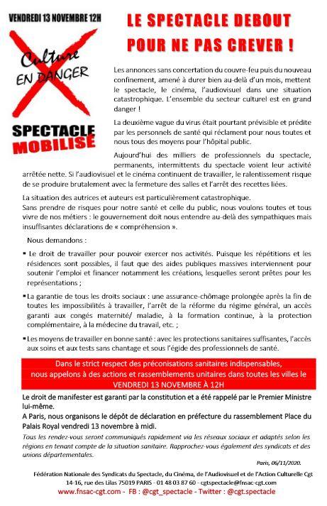Appel SFR CGT pour 13-11-2020