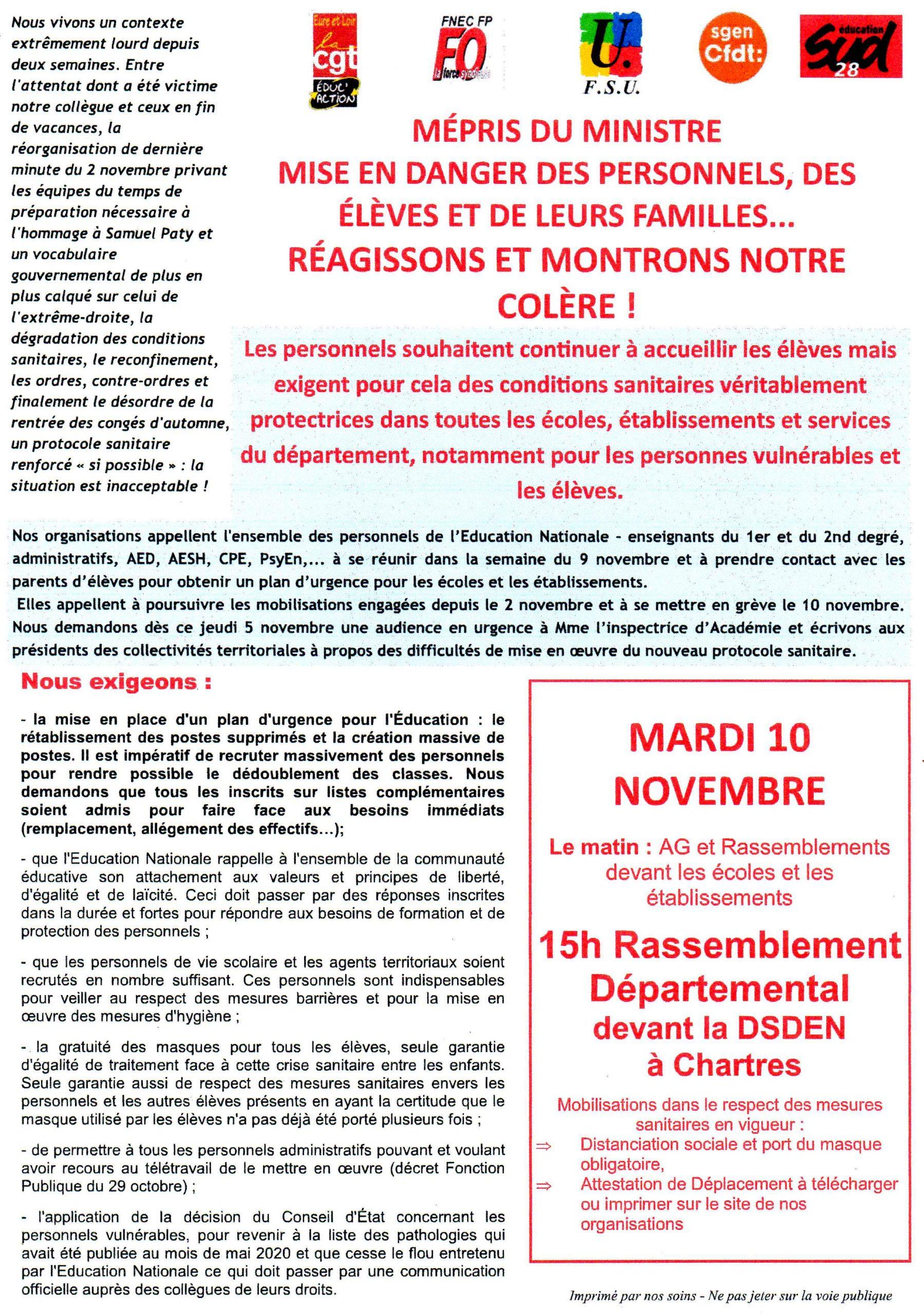 Éducation Grève sanitaire 10-11-2020
