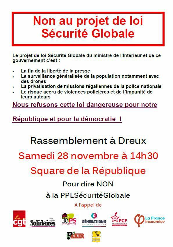 Rassemblement Loi Sécurité globale Dreux 28-11-2020 [Tract]