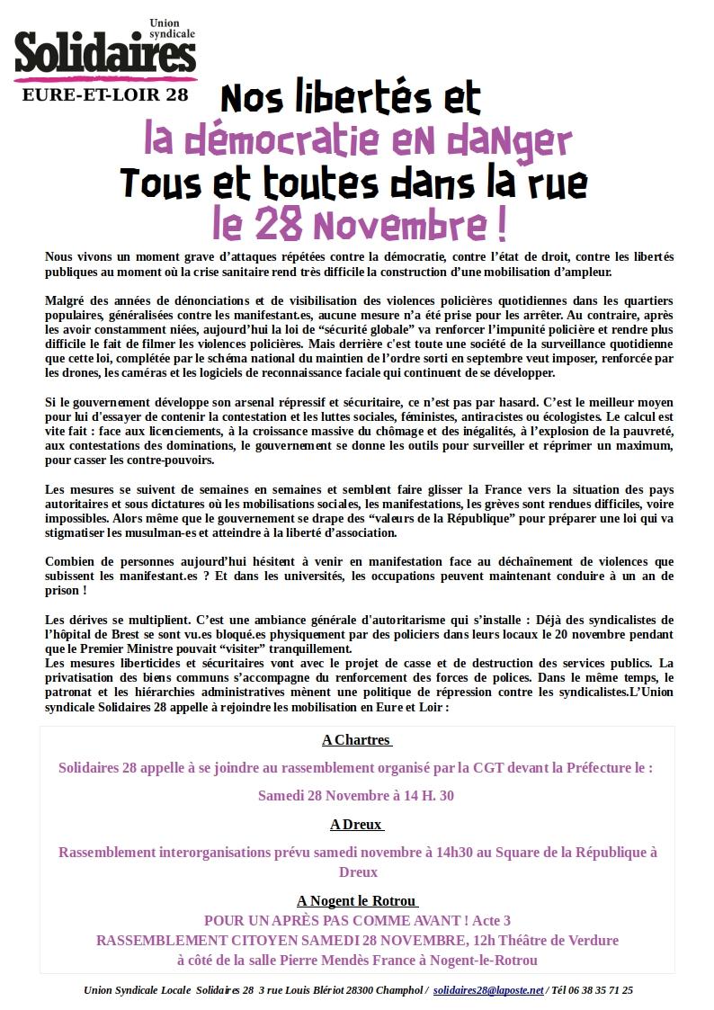 Rassemblements Loi Sécurité globale Dreux Chartres Nogent-le-Rotrou 28-11-2020 [Tract Solidaires 28]