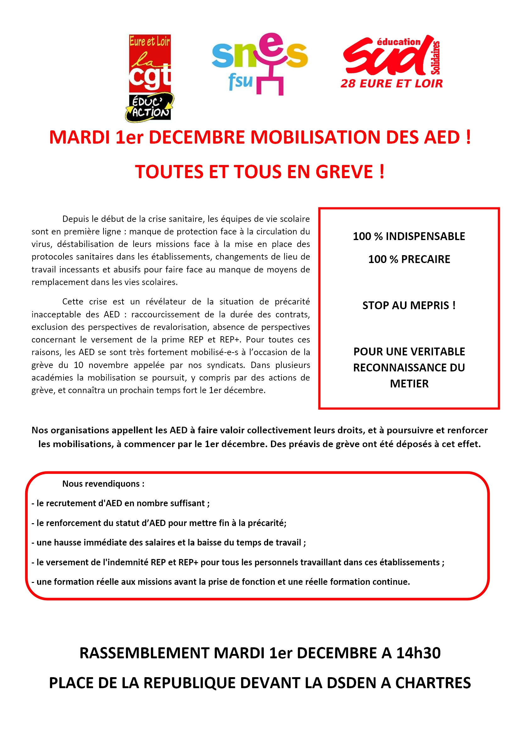 Tract E&L SNES SUD CGT-Éducaction AED 01-12-2020