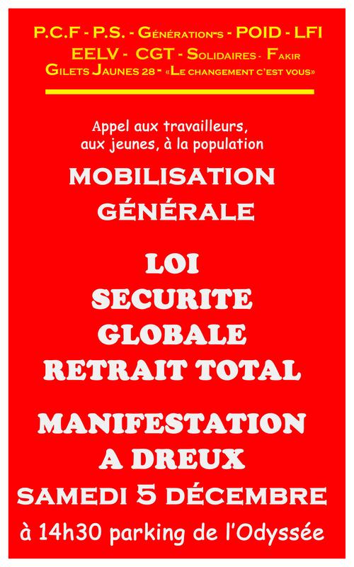 Affiche Dreux Manifestation Loi Sécurité globale 05-12-2020