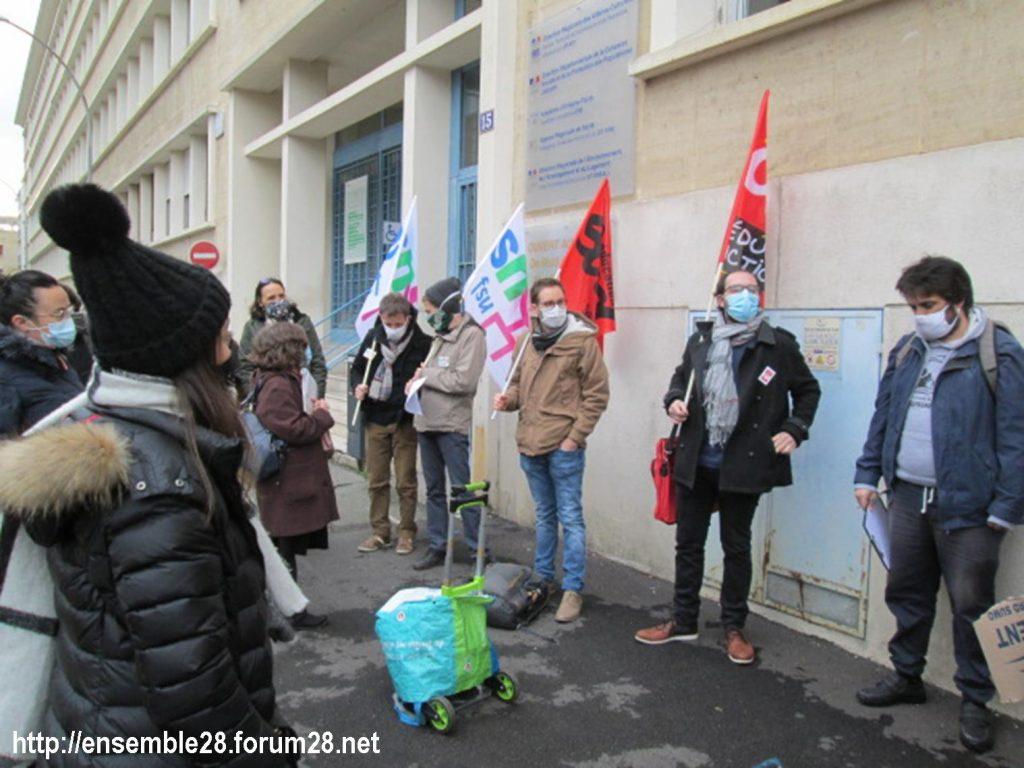 Chartres DSDEN 01-12-2020 Rassemblement AED Adjoints-d'enseignement 01