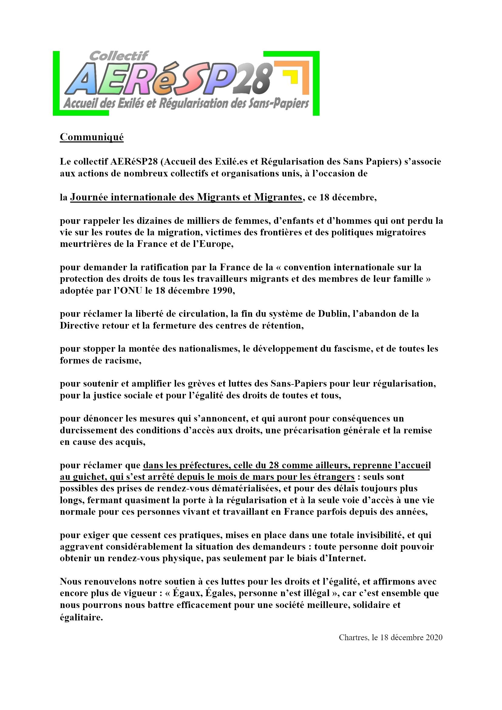 Comuniqué AERéSP28 pour 18-12-2020