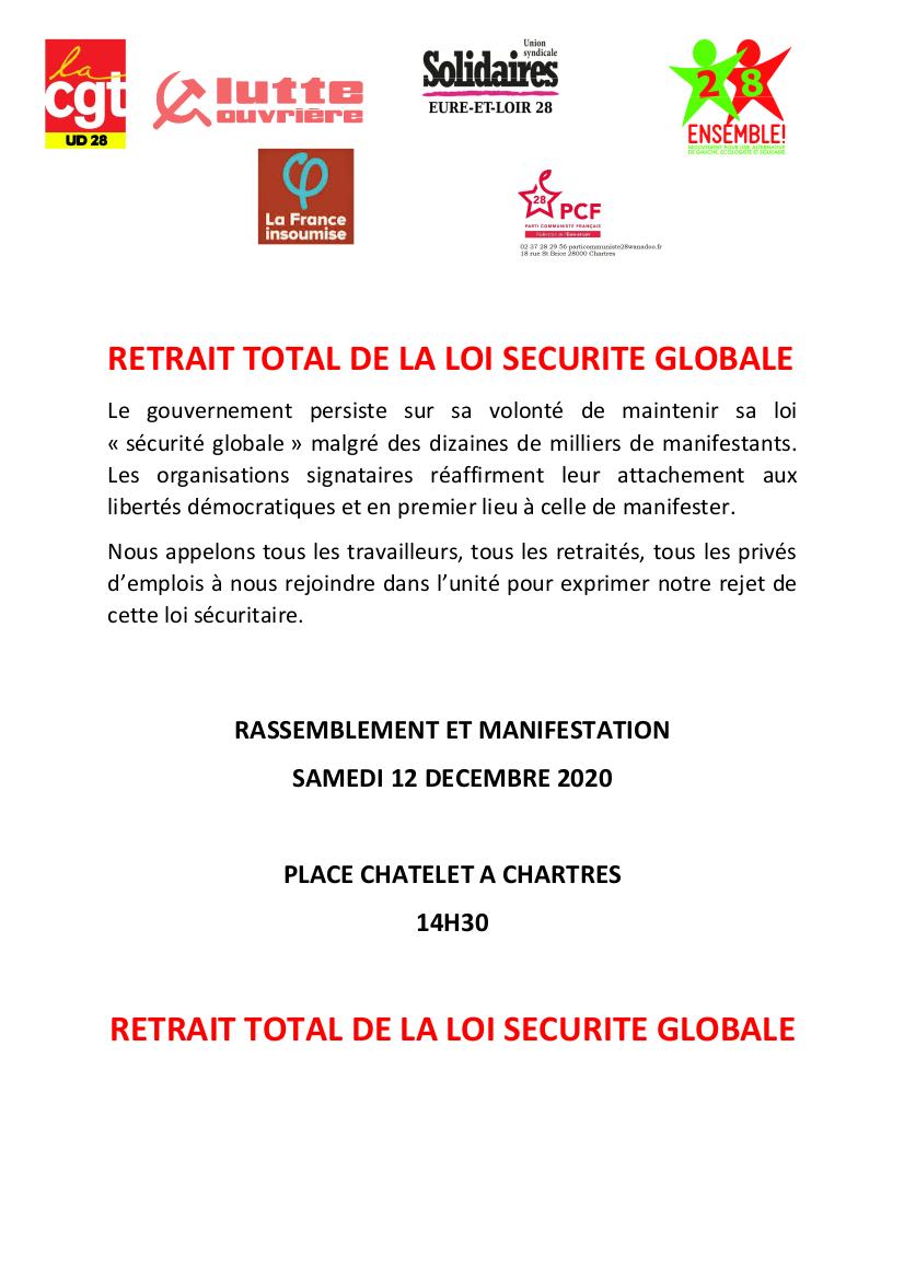 Rassemblement Loi Sécurité globale Chartres 12-12-2020 [Tract]