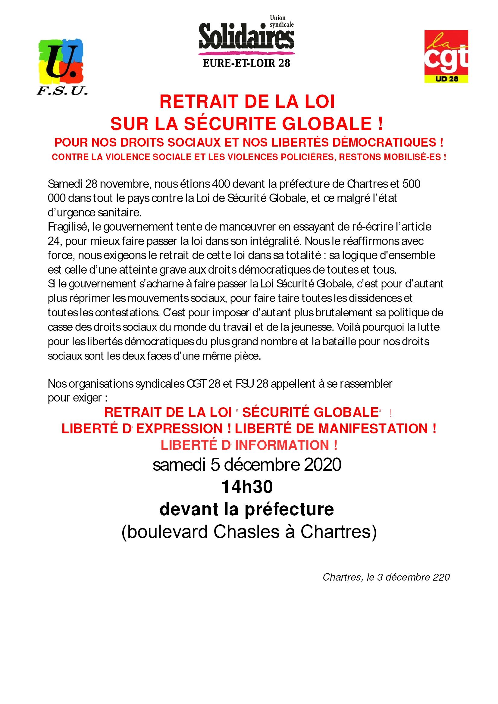 Tract Rassemblement Chartres- Loi Sécurité globale 05-12-2020