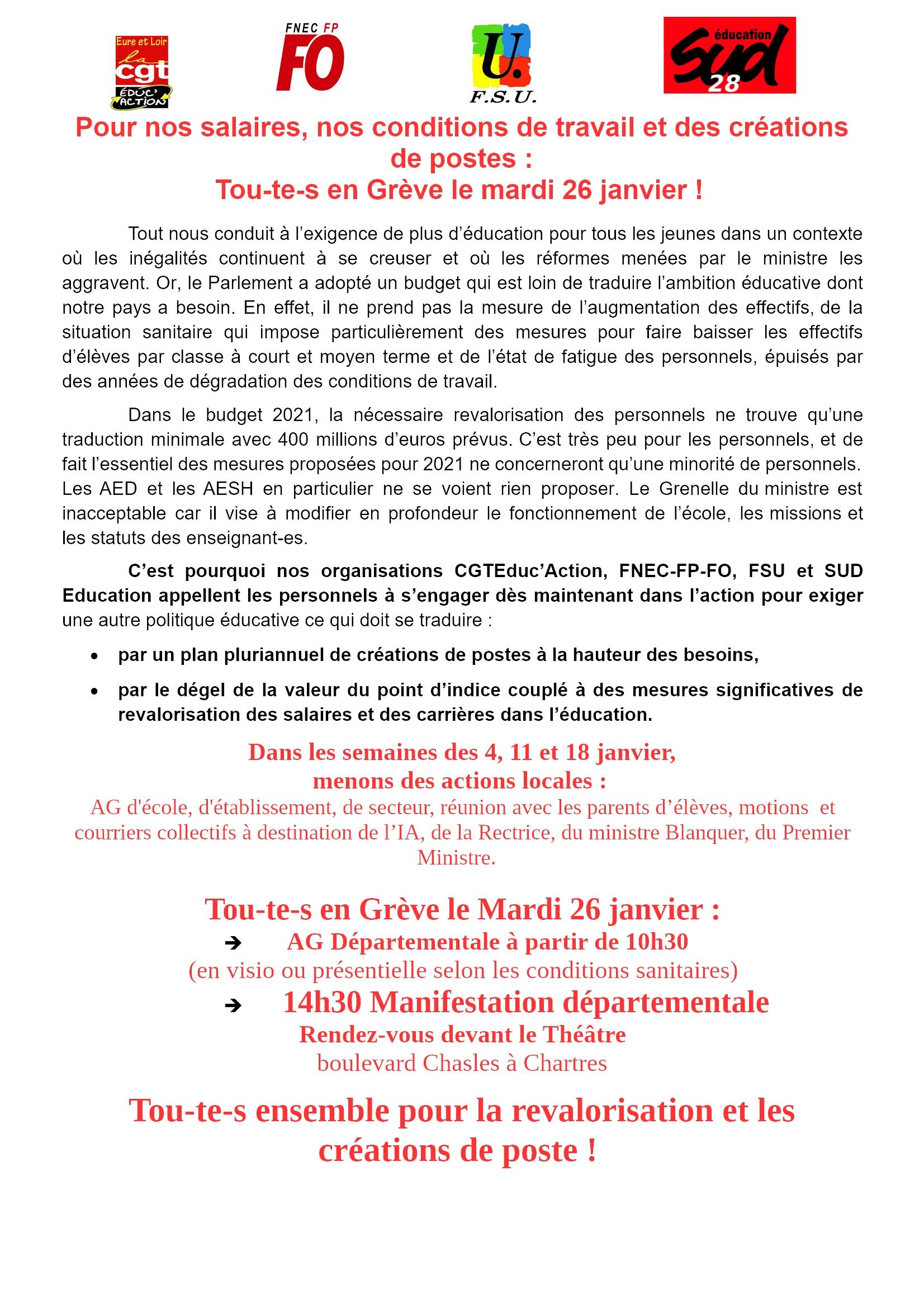 Appel intersyndicale 28 CGT FO FSU SUD Grève 26-01-2021