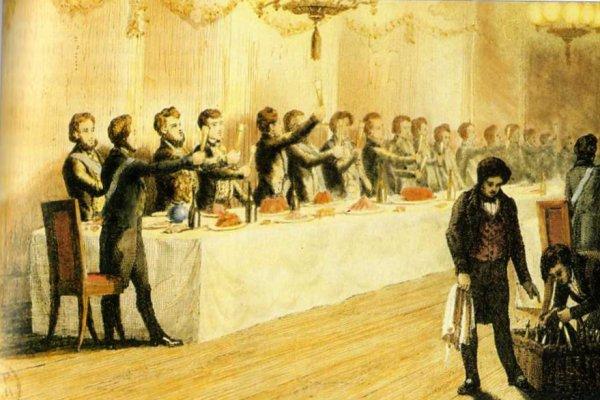 Gravure en couleurs Banquet maçonnique en France, vers 1840